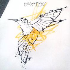 Abstract hummingbird tattoo linework watercolor