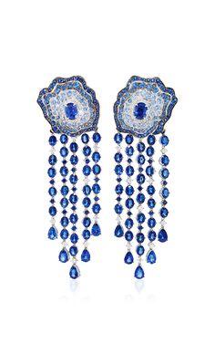 Enchanted Garden Diamond And Blue Sapphire Earrings by VANLELES for Preorder on Moda Operandi
