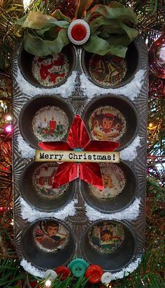 Altered Christmas or Other Holiday Muffin Tin
