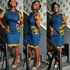 Jean Gown With Ankara Patches: Top 15 Styles African Print Dresses, African Print Fashion, Africa Fashion, African Fashion Dresses, African Attire, African Wear, African Women, African Dress, Ankara Fashion