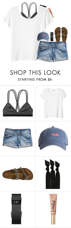 """this perfect weather tho ☀️"" by hmcdaniel01 ❤ liked on Polyvore featuring Victoria's Secret, Monki, H&M, Harding-Lane, Birkenstock, Emi-Jay and Fitbit"