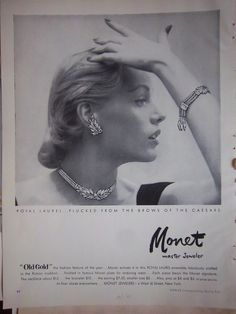 1951 Vintage MONET Royal Laurel JEWELRY Ensemble Necklace Bracelet Ad | eBay