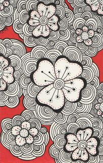 Kai-Zen Doodles: The Garden  Red Doodles ... black and white with pops of deep red ... great look!!