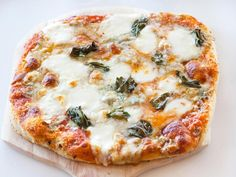 6+ Cheese Pizza - For a super-cheesy pizza, top rolled-out dough with tomato sauce, grated Parmesan, a four-cheese shredded Italian blend, Ciliegine mozzarella balls, smoked mozzarella, crumbled blue cheese and torn fresh basil leaves.