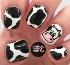 Cow Animal Nail Art - pictures, photos, images