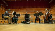 The Brodsky Quartet rehearsing in the Colyer-Fergusson Hall for their Robert Wyatt Project performance. Robert Wyatt, Peter Cook, Image
