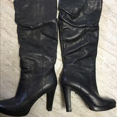 Jessica Simpson leather boots Tall scrunched style heeled leather boots. In good shape but could use some leather conditioner & has a few scuffs. Jessica Simpson Shoes Heeled Boots