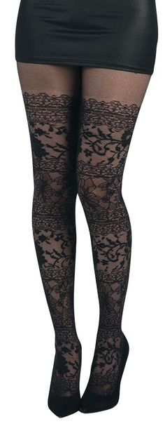 Lace Tights – Buy now at EMP – More Gothic Rockwear Special Occasions available online - Unbeatable prices! Dark Fashion, Gothic Fashion, Fit Star, Mode Alternative, Quoi Porter, Langer Mantel, Lace Tights, Gothic Rock, Black Pantyhose