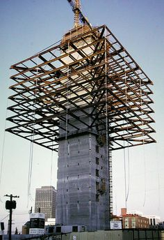 Re-named Duke Energy Building renovated to condominiums as 'The Qube at 1383 W. Vintage Architecture, Futuristic Architecture, Architecture Design, Tower Building, Building Design, Vancouver, West Coast Canada, Architectural Design Studio, Space Frame
