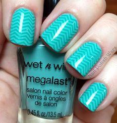 Minty Chevron  #nails #nailart