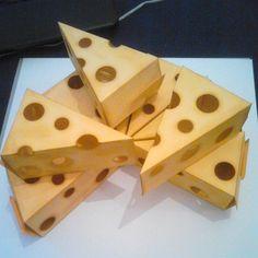 Viele Käsestückchen für eine Käsetorte. Gewerkelt mit der Thinlitsform Tortenstück von Stampin' Up!, Cutie Pie Thinlits