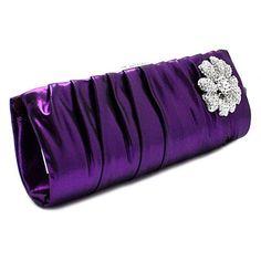 Purple Satin Wedding Evening Party Bridesmaid Clutch Bags Purses Wallet  SKU-1110444