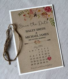 Rustic Save the Date Floral Save the Date. by LoveofCreating