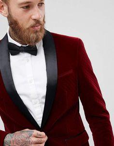 ASOS Skinny Blazer In Burgundy Quilted Velvet