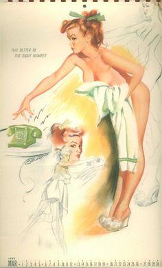 Vintage Pin Up Girl Ink Blotter Calendar-1948-Elvgren-Peek-A-Boobie