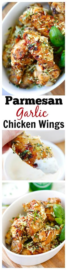 Baked Parmesan Garlic Chicken Wings – best and easiest baked chicken wings Ever with parmesan, garlic, basil, with blue cheese mustard dressing. Easy Baked Chicken Wings, Garlic Chicken Wings, Chicken Wing Recipes, Recipe Chicken, Garlic Parmesan Wings, Bbq Chicken, Appetizer Recipes, Dinner Recipes, Appetizers