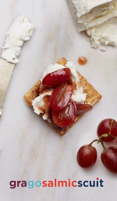 Gragosalmicscuit. Goat cheese, red grape, and balsamic vinegar on a Triscuit. A great appetizer to serve guests, if you can bring yourself to share. That's where we took it. Where will you take yours? #Triscuit