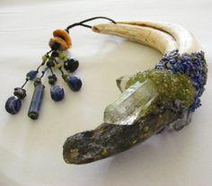 SHAMANIC JOURNEY wand with IVORY Warthog tusk, Labradorite, Peridot, Lapis Lazuli, Brazilian Quartz