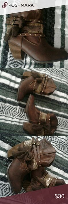 Womens Not Rated Boots Worn Once!! Dark brown faux leather embellished bootie size 9; Gold Accents Not Rated Shoes Ankle Boots & Booties