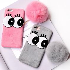 For iPhone Case Cute Big eyes Rabbit Hair Fur Case for iPhone 6 7 Winter Warm Plush Soft Ball Cover for iPhone 6 7 Plus Coque
