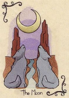 lovely embroidery design of The Moon Tarot card