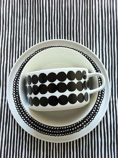 marimekko in black and white noir et blanc ceramics Valentines Day Party, Decoration Table, Black White Stripes, Scandinavian Design, Cup And Saucer, Pottery, My Favorite Things, Inspiration, Style