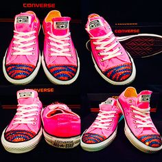 ee8969db803d Pink Women Converse with Zebra pattern in sports team colors with Swarovski  Crystals! Available at