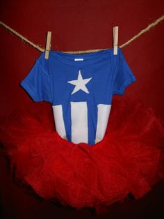 Captain America inspired comic superhero Patriotic Toddler Tutu Costume 18 months. ~ wish Id seen this sooner! I know a little girl whod have been wearing it to her big bros bday party tomorrow!!!