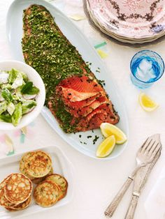 Hendrick's gin-cured trout with buttermilk blini :: Gourmet Traveller Magazine Mobile Brunch, Savory Breakfast, Recipe Search, Seafood Recipes, Trout Recipes, Salmon Recipes, Fish And Seafood, Recipe Collection, Hendrick's Gin