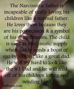 narcisstic fathers are incapable of loving their children