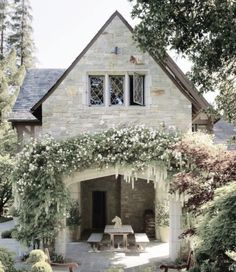 stone cottage and outdoor patio area Cozy Cottage, Cottage Homes, Cottage Style, Witch Cottage, Yellow Cottage, French Cottage, Outdoor Rooms, Outdoor Living, European Home Decor