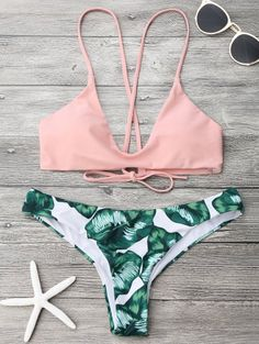 SHARE & Get it FREE | Palm Leaf Cami Bralette Bikini Set - Pink And Green MFor Fashion Lovers only:80,000+ Items • New Arrivals Daily Join Zaful: Get YOUR $50 NOW!