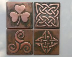 Tree of life and celtic tiles 13 tiles set by MyCopperCraft