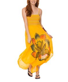 Look at this Yellow Floral Smocked Maxi Dress on #zulily today!