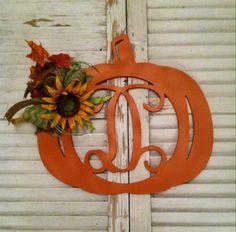 DIY door hanger - unfinished monogram pumpkin www.build-a-cross.com