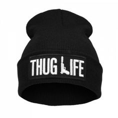 THUG LIFE /czarna/ Czapka Beanie Krasnal naszywka