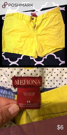 Size 14 Merona yellow shorts Size 14 yellow Merona shorts in good condition Merona Shorts