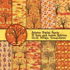 Fall Digital Paper Pack. #fallpaper #autumnpaper #treedigitalpaper #treepatterns #fallleaves #leafpaper #fallfoliage #pumpkinpaper #acornpaper