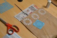 DIY Stenciled Burlap Table Runner! - The Frugal Girls