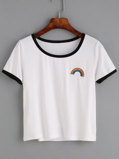 White Contrast Trim Rainbow Embroidered T-shirt www.romwe.com