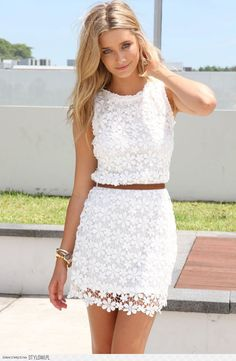White floral lace skirt and top. So pretty!