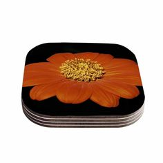 Kess InHouse Nick Nareshni 'Open Wide Red Flower' Red Coasters