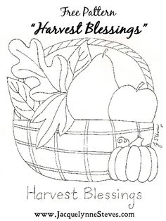 Harvest Blessing Free Embroidery Pattern- Jacquelynne Steves I am placing this under quilting as it could be a good pattern for applique Fall Applique, Wool Applique Patterns, Felt Patterns, Embroidery Patterns Free, Embroidery Stitches, Embroidery Designs, Fall Sewing, Star Quilt Blocks, Halloween