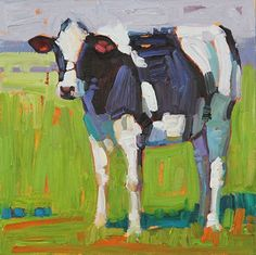"""Black and White,"""" by René Wiley by Rene' Wiley Gallery Oil ~ 10 x 10 Cow Painting, Oil Painting Abstract, Oil Painting Techniques, Van Gogh Art, Farm Art, Animal Quilts, Cow Art, Art For Art Sake, Art Portfolio"""