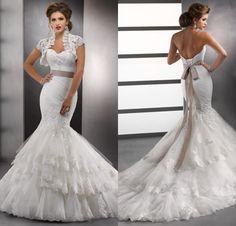 2014 White Lace Sweetheart Mermaid Wedding Dresses With Bolero Jackets Vintage China Hot Bridal Gowns pnina tornai wedding dress US $219.99
