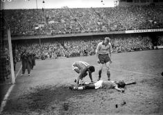 Garrincha looking after Pele in the 1958 World Cup final.