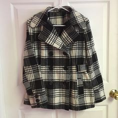 George Plaid Jacket cute chic pea coat,neutral black and whte matches everything,very flattering George Jackets & Coats Pea Coats