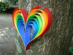 Paper Heart Garland  Rainbow Hearts 5' Garland by OrigamiDelights  #papercoterie