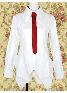 White Long Sleeves Lolita Blouse with Red Tie ( this would be good to cosplay makise kurisu from steins;gate)