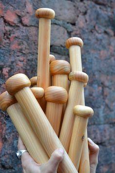 Big chunky 1.25 inch hand made knitting needles in himalayan pine for mega yarn